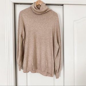 Vici Blush Nude Cowl Neck Sweater w/ Puffy Sleeves